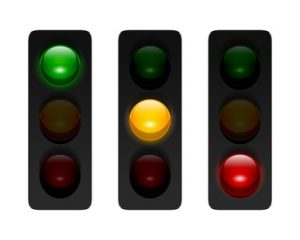 Vector traffic signals with three aspects isolated on white background. Traffic lights icon set for your design. © issumbosi